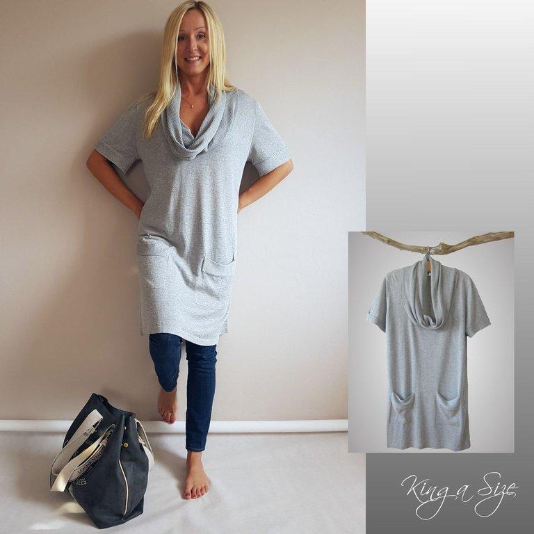 gigi strickkleid kleid long pullover grau gr.48 | versand frei