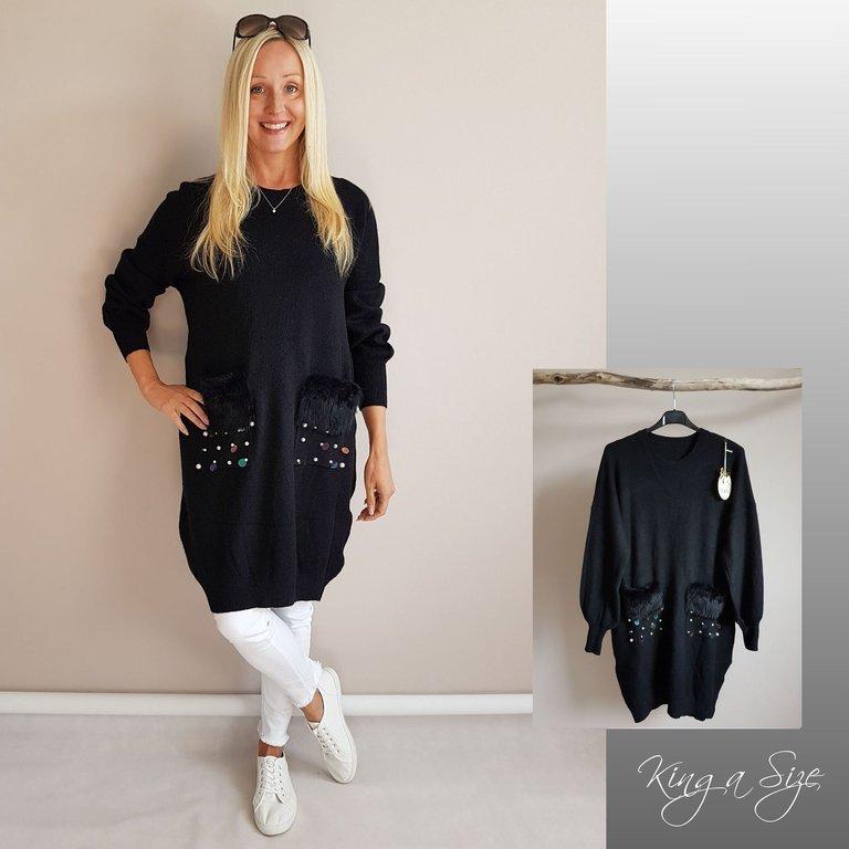 italy strickkleid kleid schwarz gr.44 | kostenlose versand